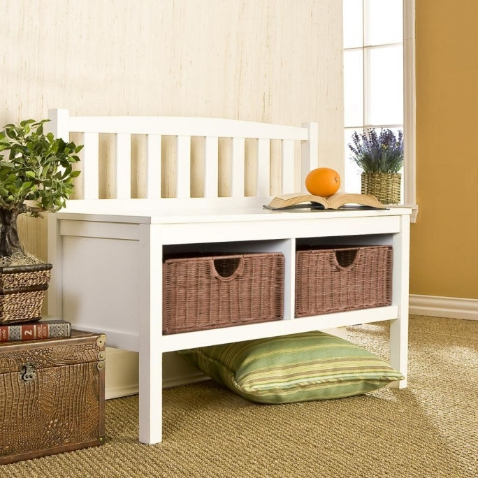 White Storage Bench With Baskets Two Brown Rattan Pics