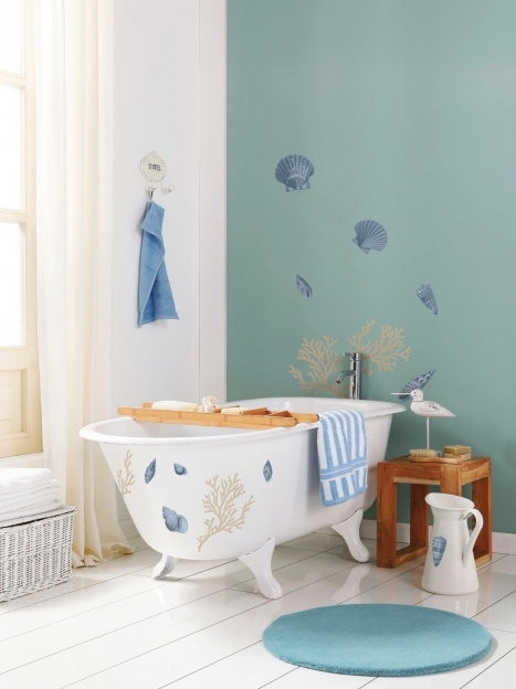 Beach Themed Decor For Bathroom Cool Coastal Style White Clawfoot Bath Seashell Wall Decal Image