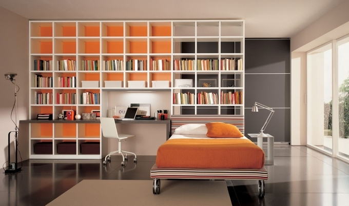 Bookshelf Decorating Ideas Contemporary Young Bedroom With Minimalist Bookshelves Design Picture