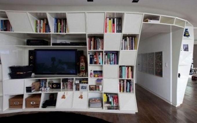 Bookshelf Decorating Ideas Modern Large White Wooden Cubes Bookshelves With Media Center Image