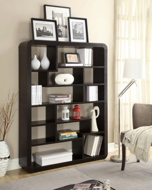Bookshelf Decorating Ideas With Modern Floor Lamp Design And Gray Area Rug Pics