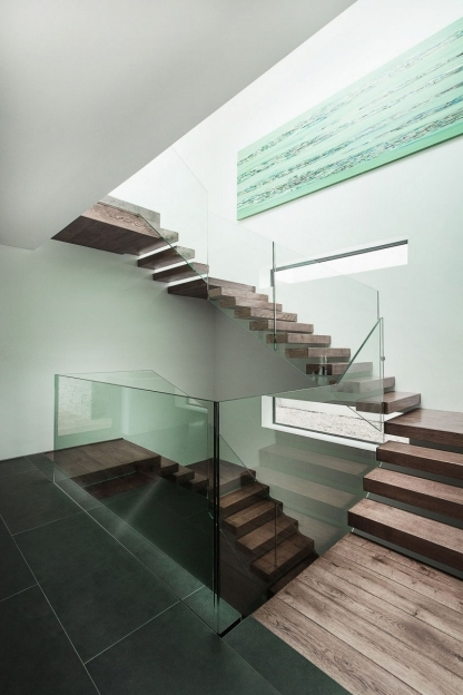 Floating Stair Kits Glazed Fences For Wooden Floating Stairs On White Wall Pics
