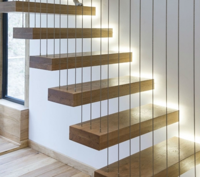 Floating Stairs Construction Unique Ideas With Wooden Step And Wire Images