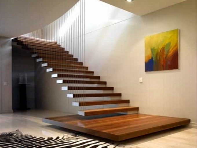Floating Stairs Construction Wooden Floating Staircase Without Handrail Only Wire For Hanging Pics