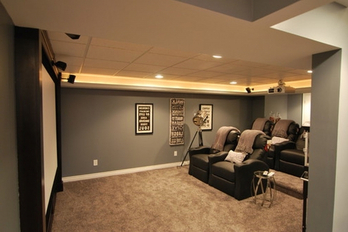 Media Room Lighting Ideas Part - 26: Small Media Room Ideas On A Budget Basement Decorating Ideas With Leather  Sofa Installed And Brown