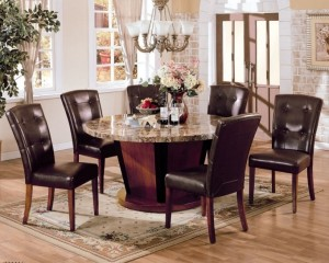 Vintage Brown Leather Dining Chair Dining Room Round Marble Top With Ceramic Flower Vase Pic