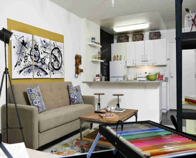 Small Space Living Room And Kitchen Design For Apartment Decor Images