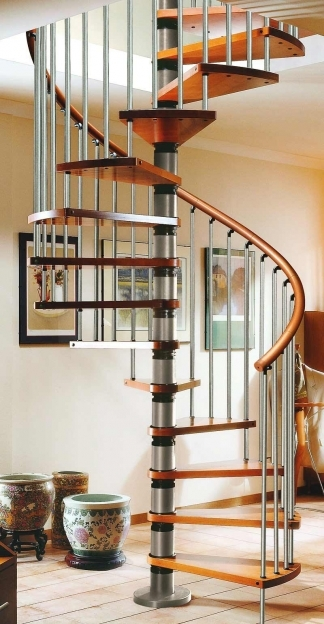 Spiral Staircase Kits Gamia Silver Iron And Wooden Design With Beauteous Porcelains Pics