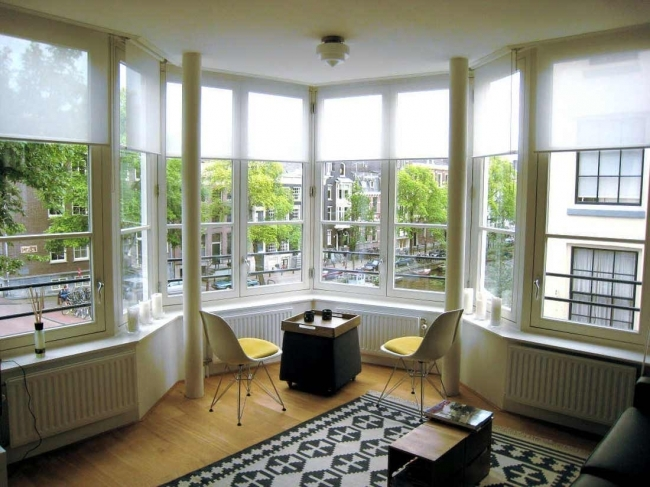 Adorable Contemporary Window Treatments For Bay Windows Splendid House Decorations Photos