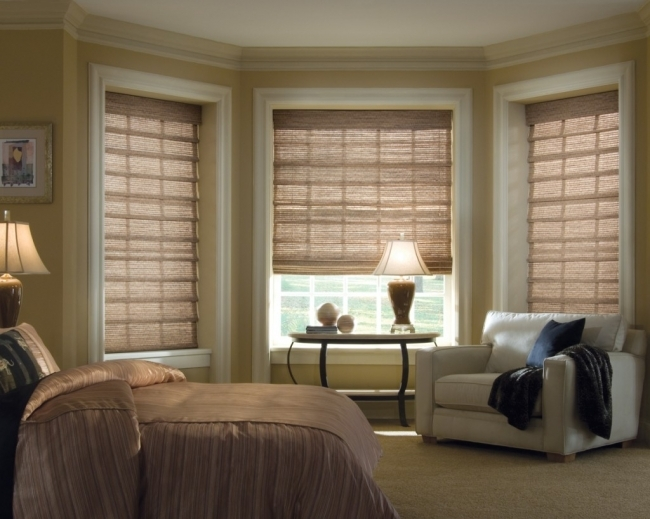 Agreeable Contemporary Window Treatments For Bay Windows Corner Wooden Shades Pic