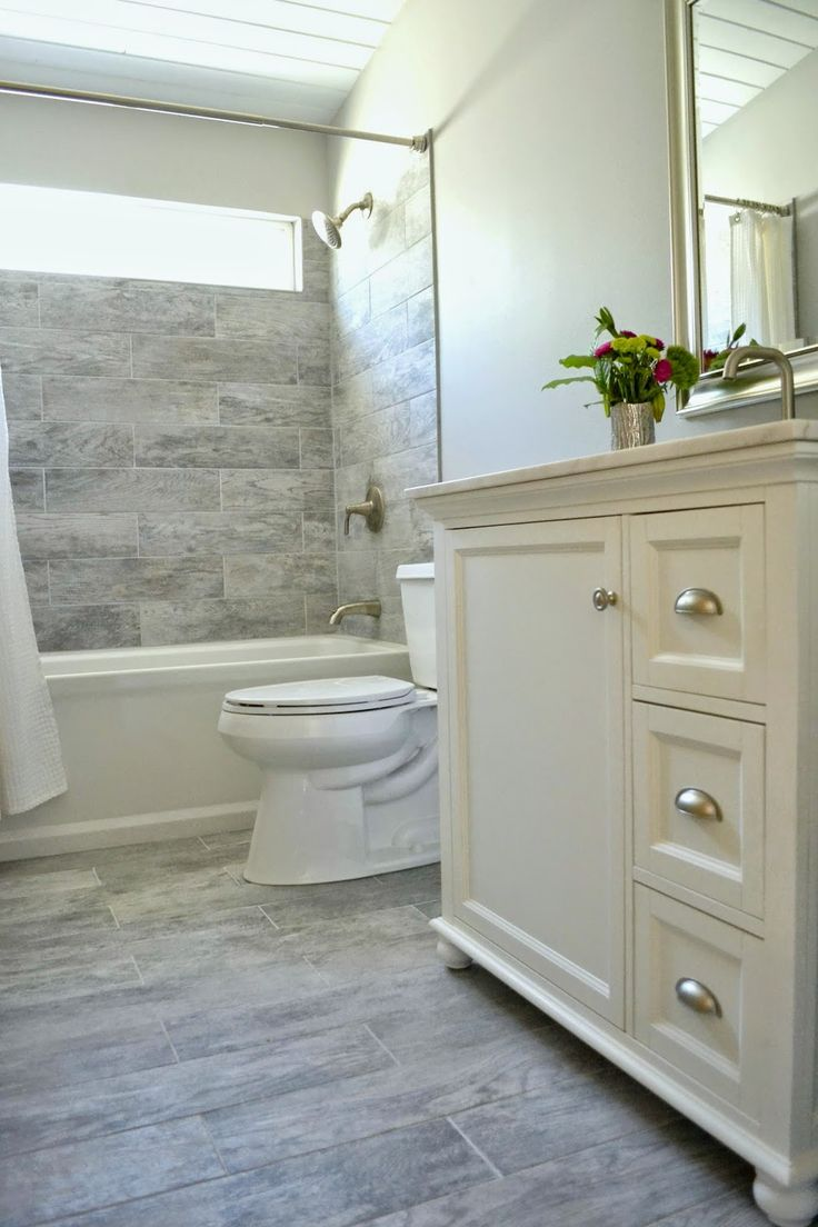 Bathroom Renovation Design Same Color Fixtures Espresso Vanity, White Top, Maybe Bring Tile to the Ceiling