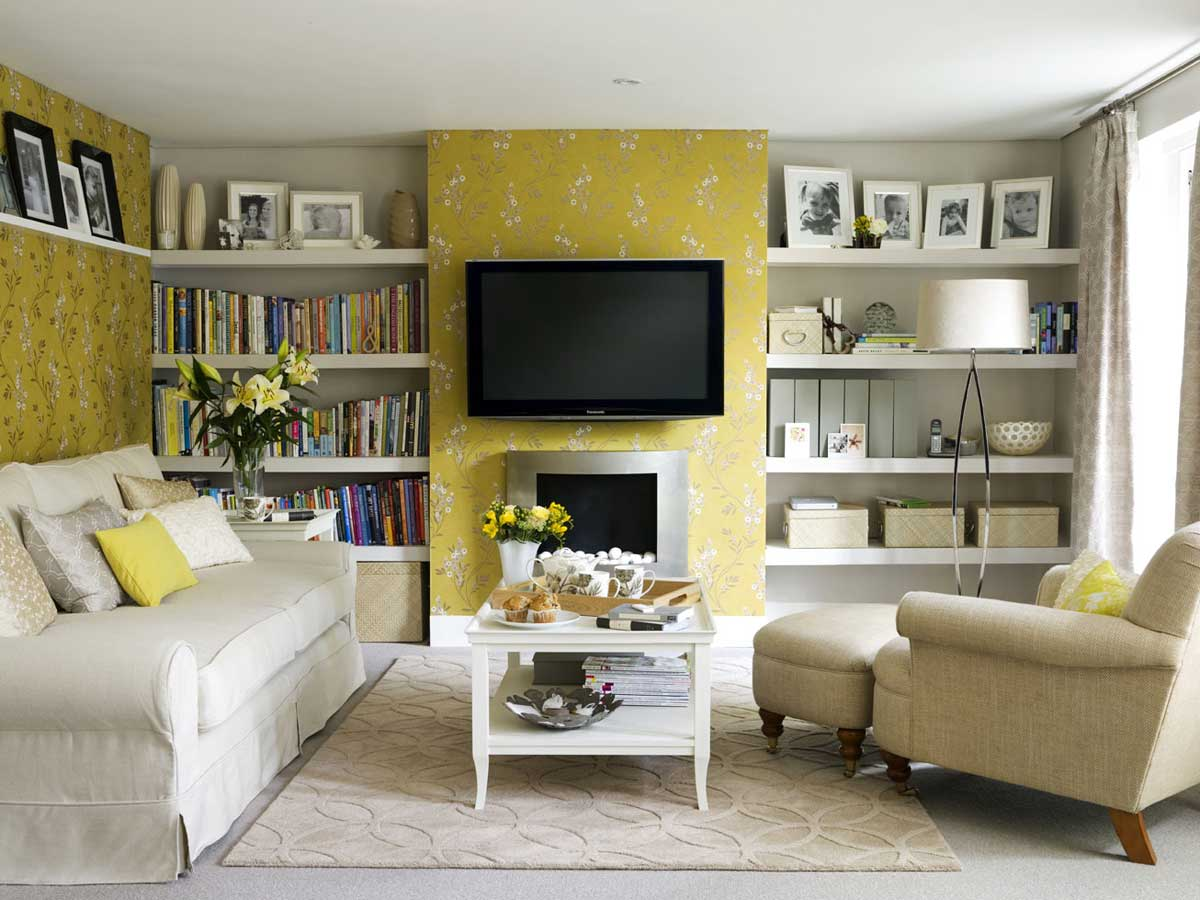 Beautiful Painting Ideas For Living Room with White Fabric sofa Contemporary Design Photos 025