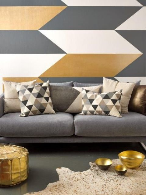 Cool Interior Wall Painting Ideas For Living Room with Black SofaGeometric Wall Paint Cushion Decor Images 015