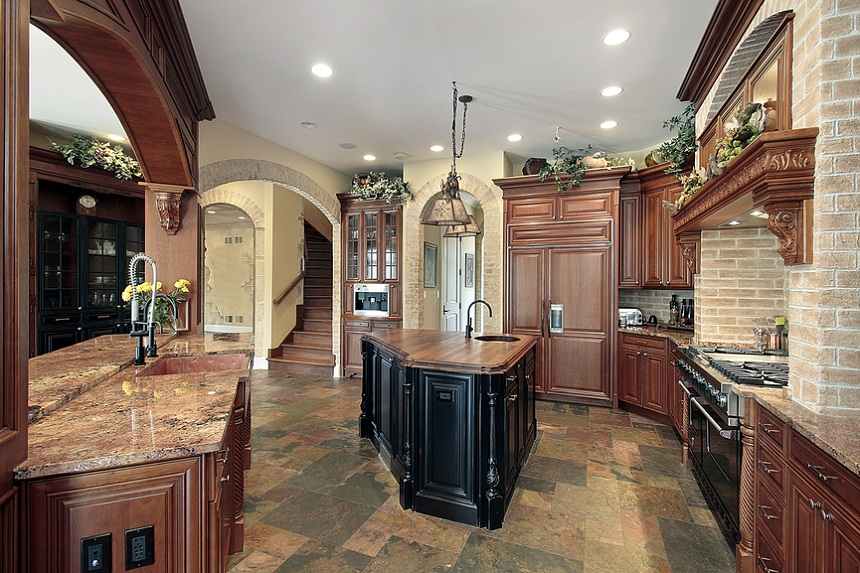 Large Custom Luxury Kitchen With Dark Brown Cabinets