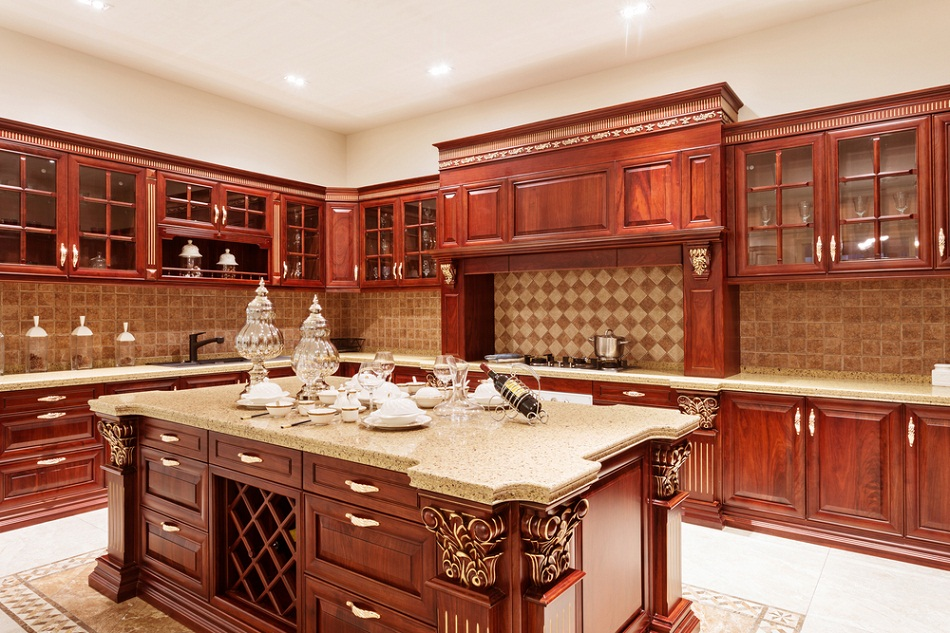 Red Toned Wood Custom Luxury Kitchen Designs