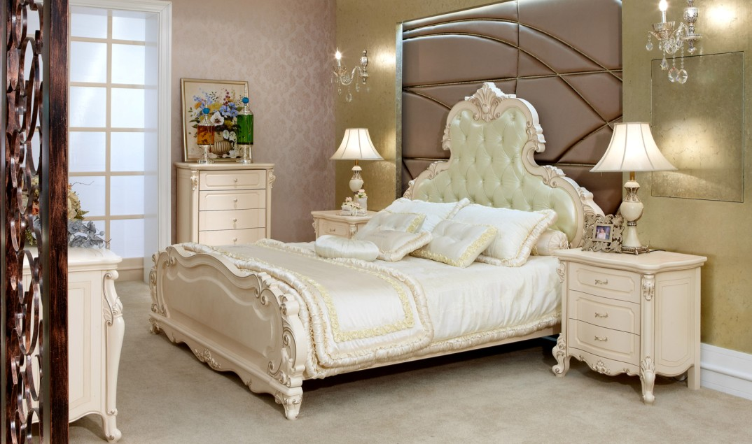 White Solid Wood Bedroom Furniture Neoclassical Pearl - Home ...