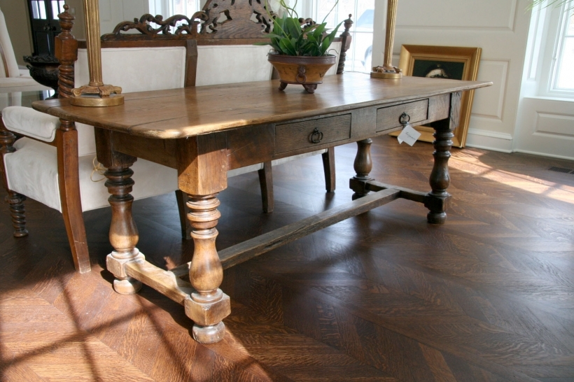 Amazing Large Work Table French Antique In Oak Sold  Images