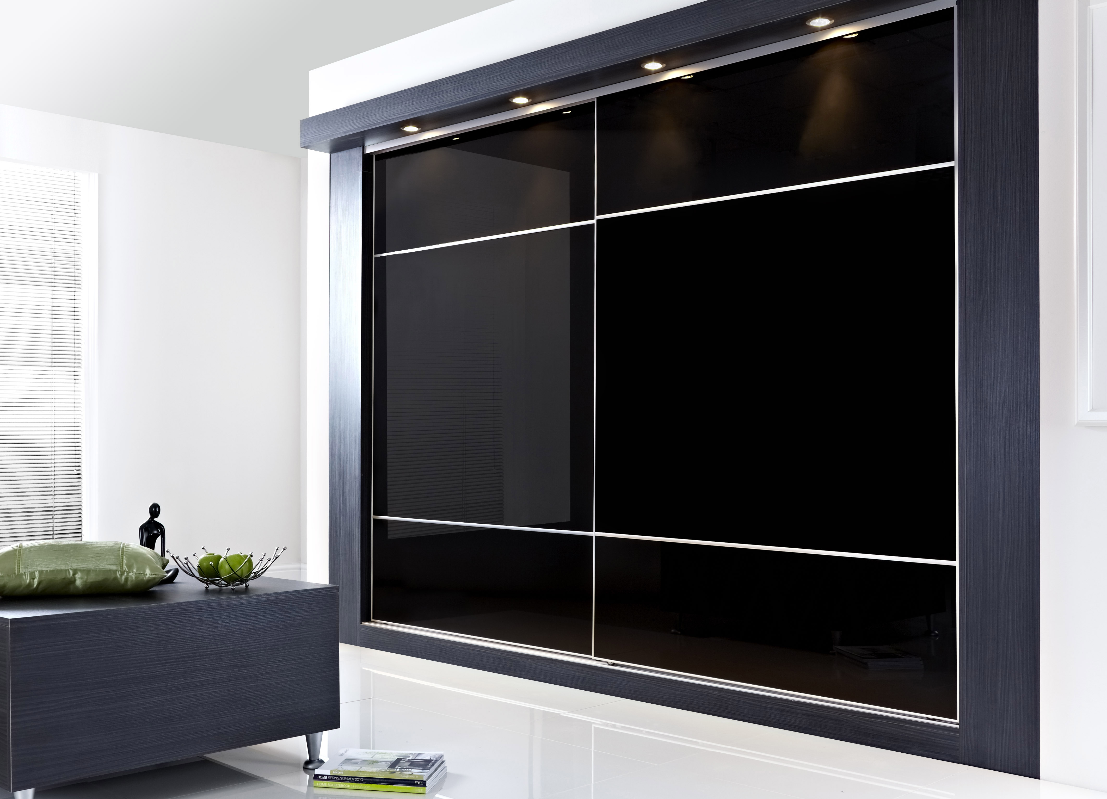 Awesome Transparant Glass Door Cabinet With Master Bed In Master Bedroom Regarding Black Closet Doors