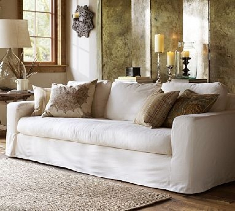 Awesome White Slipcovered Sofa Elegant Design Photos