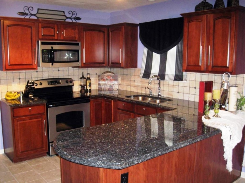 Beautiful Blue Pearl Granite Countertop With Cherry Kitchen Cabinets Images