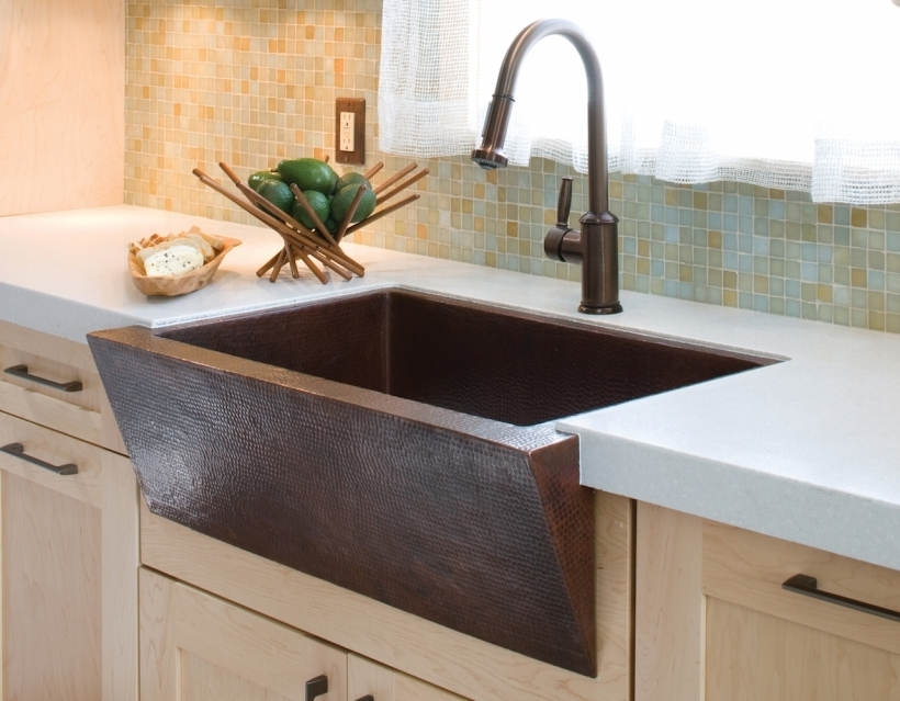 Beautiful Drop In Farmhouse Copper Kitchen Sinks  Modern Design Pic