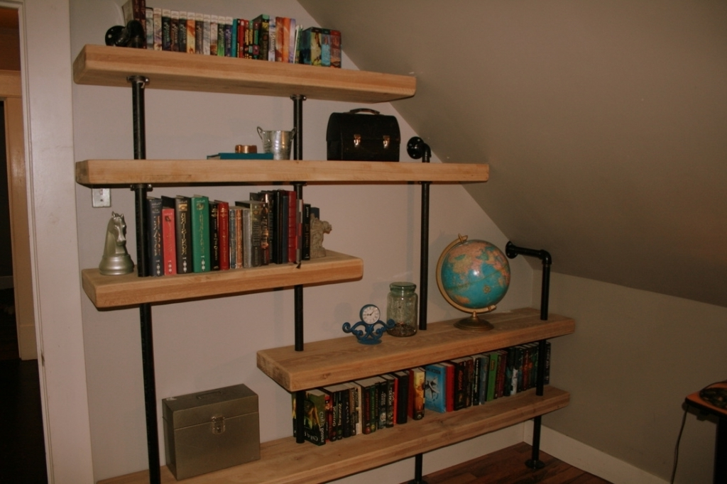 Brilliant Built In Shelving Unit Decorating Attic Room Rustic Shelving Units Pic