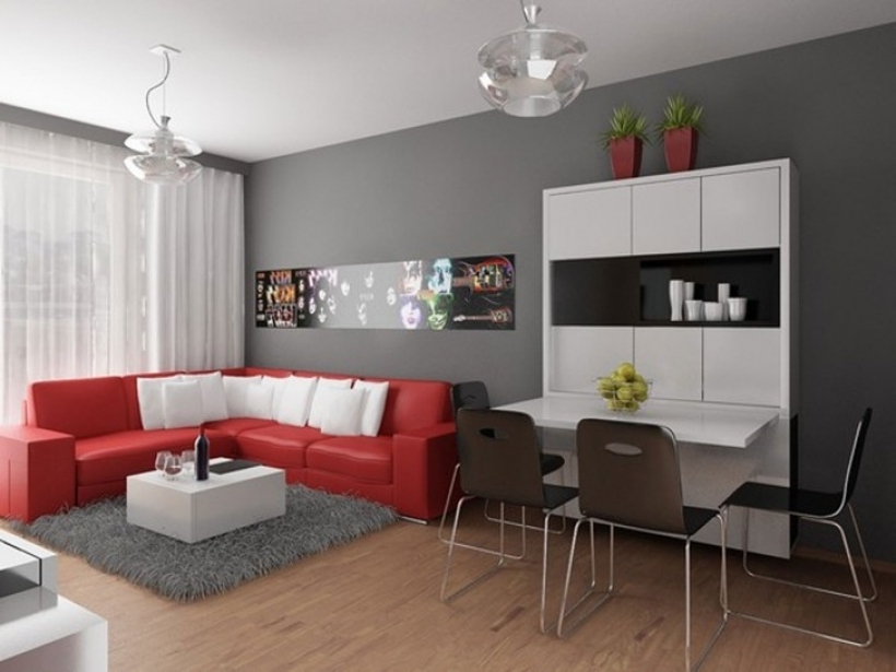 Brilliant Grey Paint Color For Living Room For Apartment With Red Sofa Images