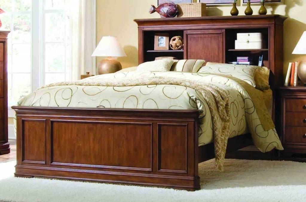 Brilliant Wood Headboard Designs With Cream Comforter Platform Bed And Dark Cherry Wood Bookshelf Photos