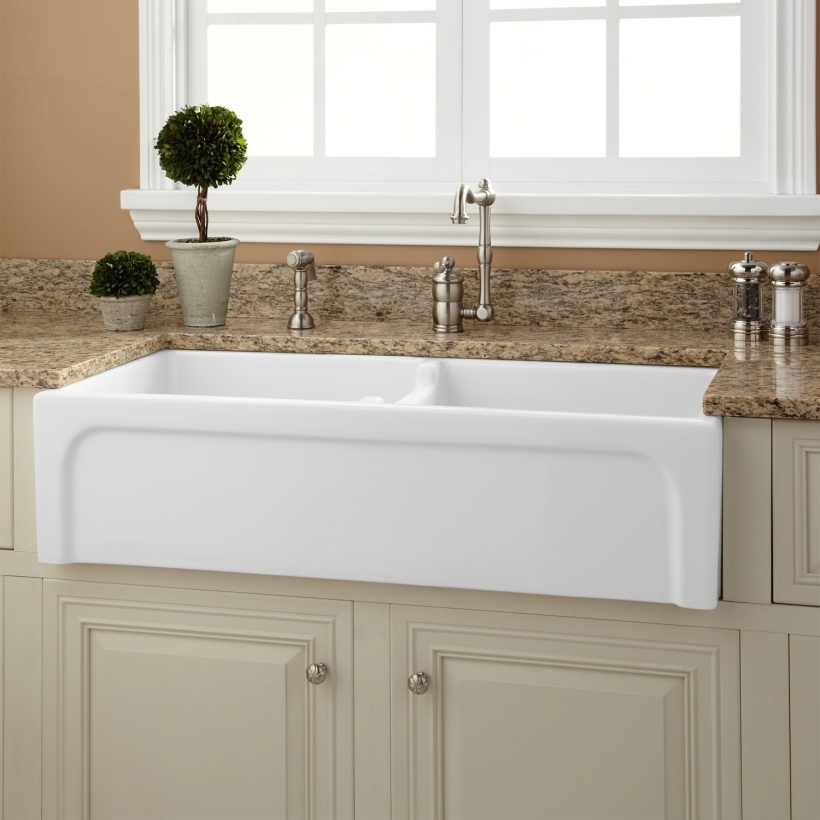 Comfy Drop In Farmhouse Sink With Double Handle Chrome Images