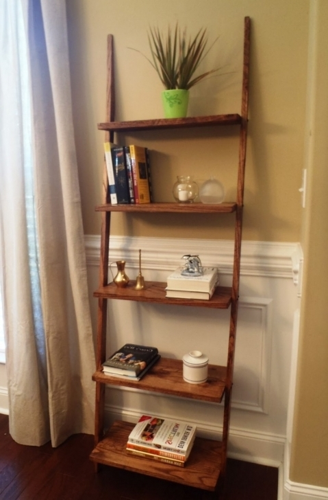 Cozy Rustic Wooden Ladder Shelving With Cream Wall Paint Rustic Shelving Units Images