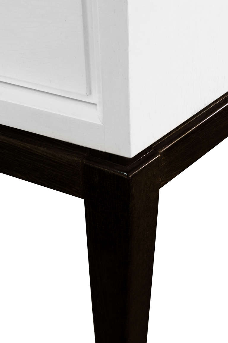 Cozy White Lacquer Console Table Within White Glass Drawer On Top
