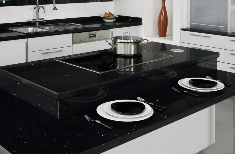 Fantastic Black Quartz Countertops With  White Wooden Cabinet Furniture Photos