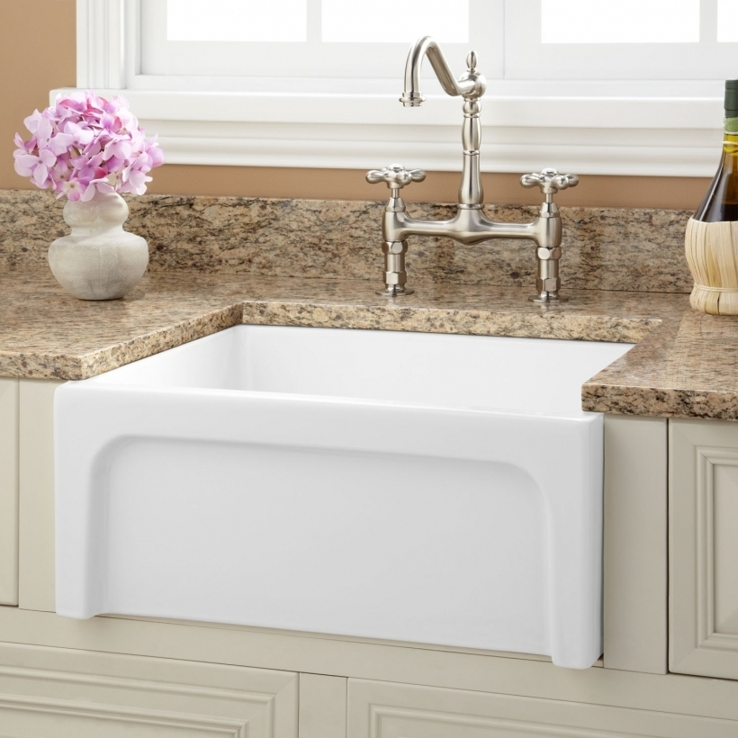 Fascinating Drop In Farmhouse Kitchen Sinks Magnificent White Single Apron With High Arc Faucet Pictures