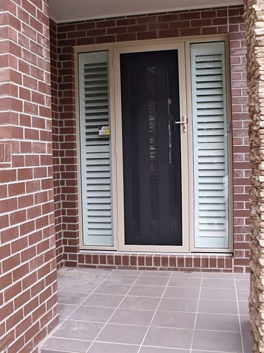 Fascinating Sidelight Blinds With White Stained Frame Bricks Pictures