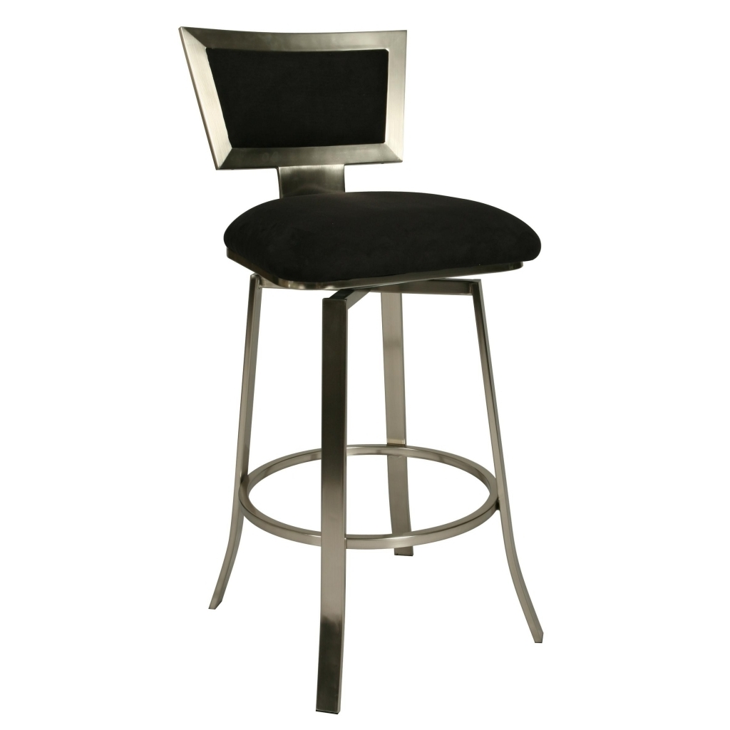 Gorgeous High End Bar Stools Using Black Leather Stool And Rectangle Back Also Silver Steel Legs Images