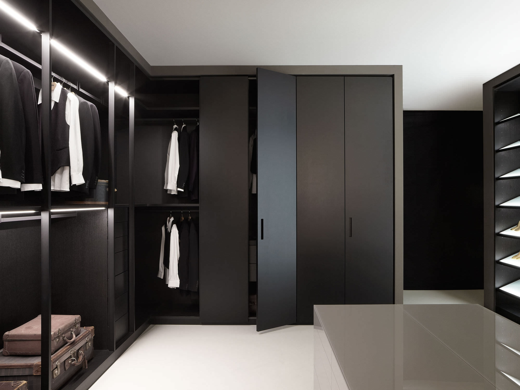 Great Black Solid Polished Wardrobe Design Pertaining To Black Closet Doors