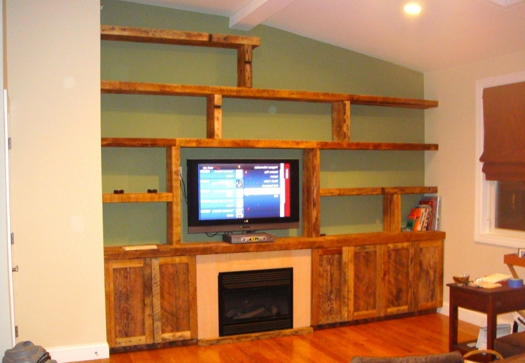 Marvelous Custom Wooden Wall Unit With Bookcase Rustic Shelving Units Pic