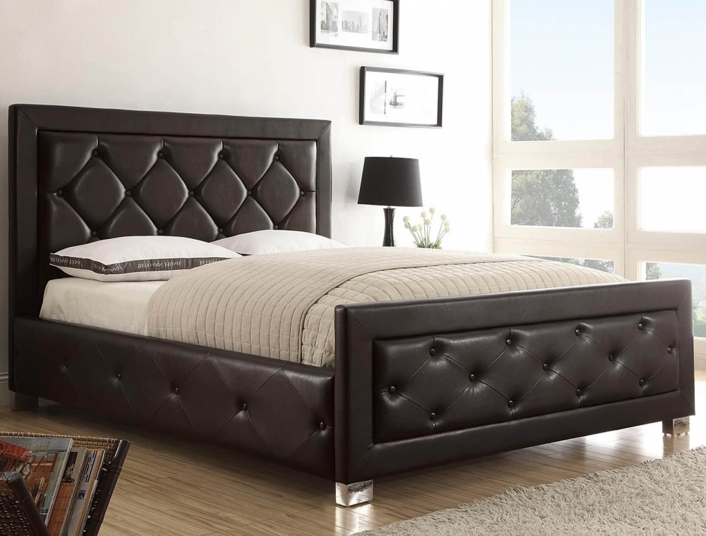 Marvelous Wood Headboard Designs With White Bedcover And Nightstand For Modern Bedroom Photos