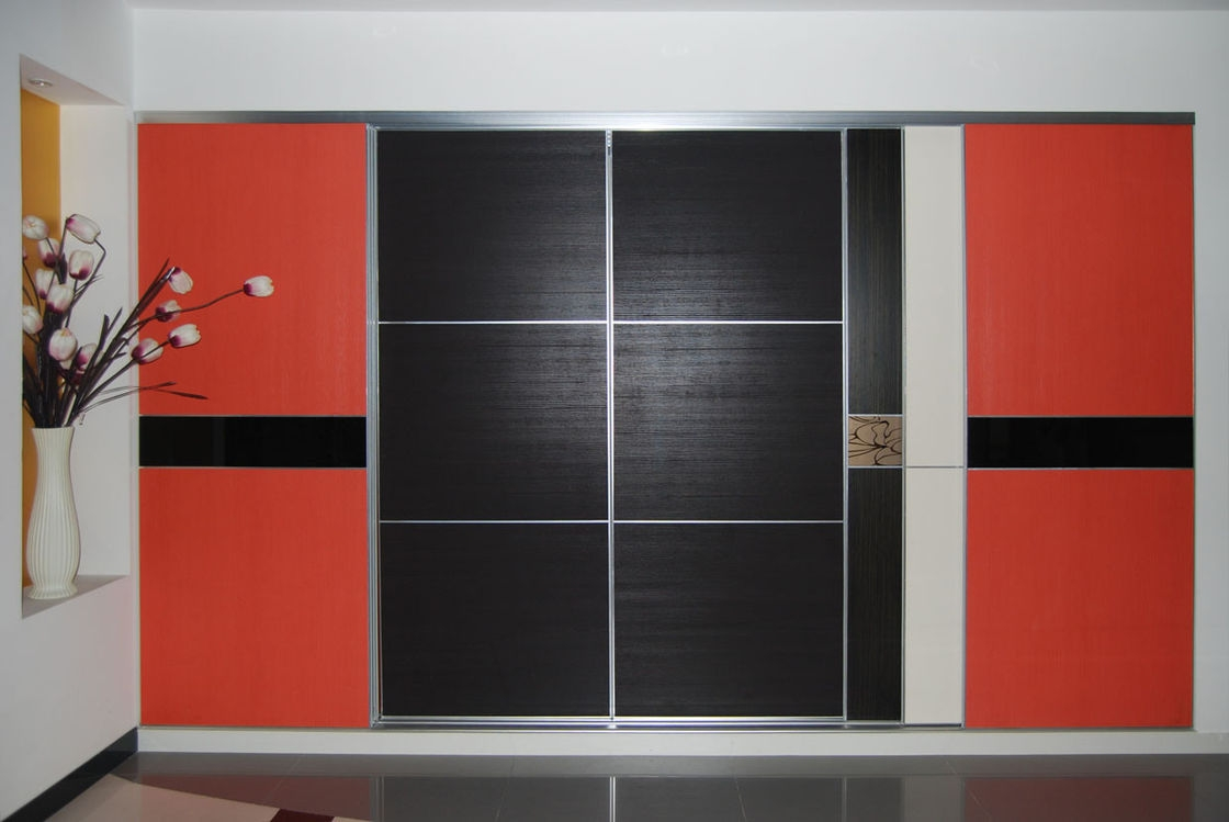 Outstanding Closets Storages Modern Black And Red Pass Closet With Plate Inside Black Closet Doors