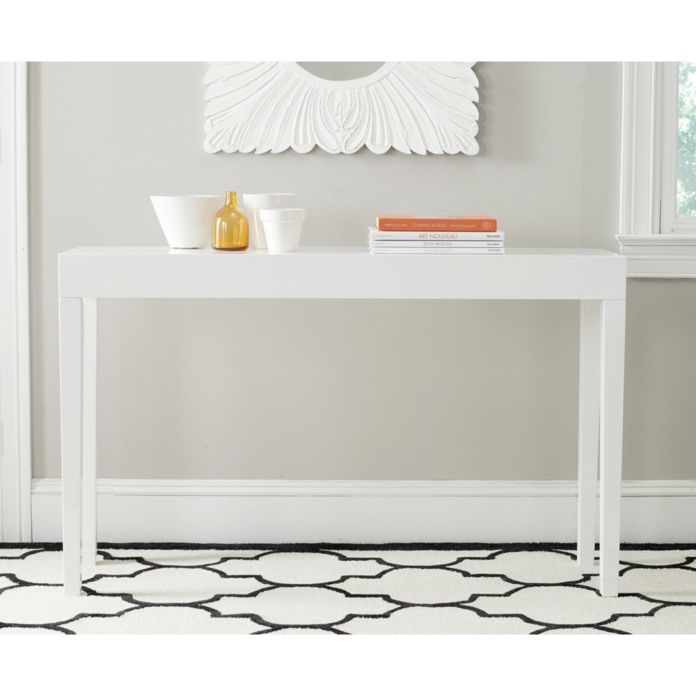Stylish White Lacquer Console Table Regarding Safavieh Kayson