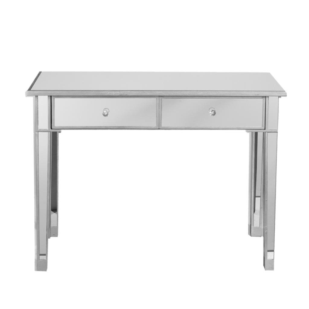 Stylish White Lacquer Console Table With Regard To Mirrored 2 Drawer Modern Hayworth Vanity Table Minimalist Shape