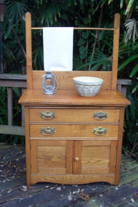 Antique Dry Sink Vanity With Regard To Antique Tiger Oak Dry Sink Picture