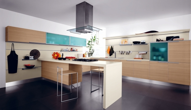 Attractive Floating Kitchen Island With Seating Regarding Custom Ideas With LED Lighting Dark Floor Tiles  Images