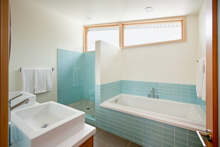 Awesome Small Bathroom Remodeling Subway Tile Regarding Blue Ceramic Wall And White Rectangular Bowl Sink Photos