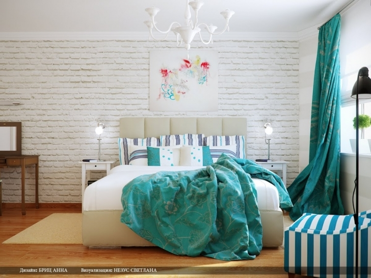 Awesome White Brick Wallpaper Bedroom In Of Turquoise Bedroom Decoration Photos