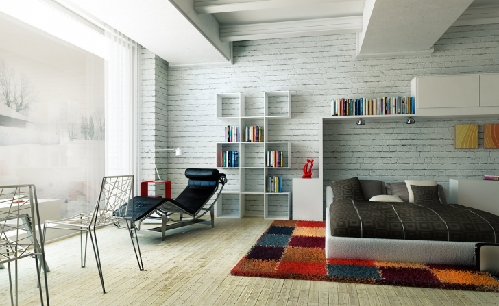 Awesome White Brick Wallpaper Bedroom Within Apartment Black And White Interior Bedroom Picture