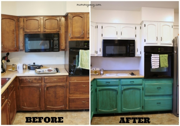 Chalk Paint Kitchen Cabinets With Regard To Kitchen Before And After Painted Cabinets Images