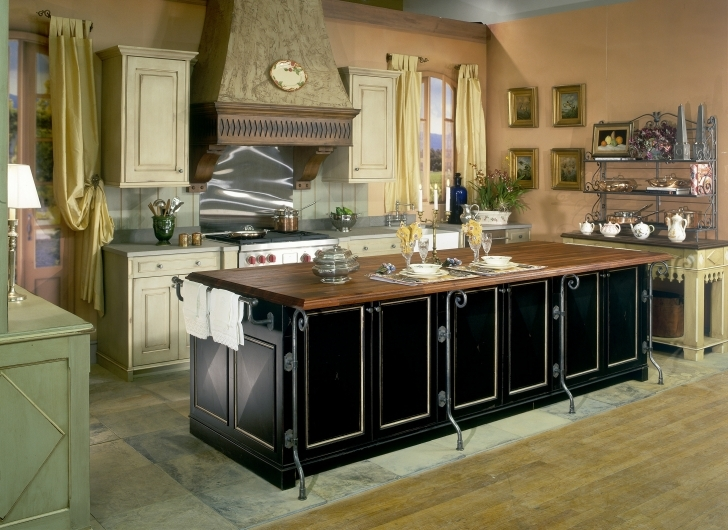 Custom Kitchen Cabinets Regarding Classy Wooden Top Black Kitchen Islands Ideas With Custom Wooden Chimney Hood Image