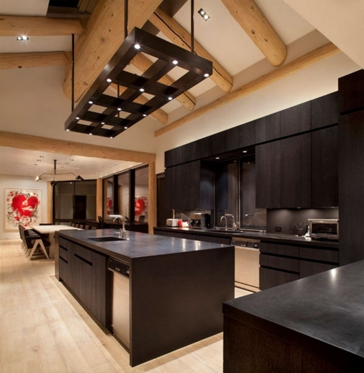 Dark Wood Kitchen Table With Brown Kitchen Cabinet Ideas With Sloped Ceiling Design Photo