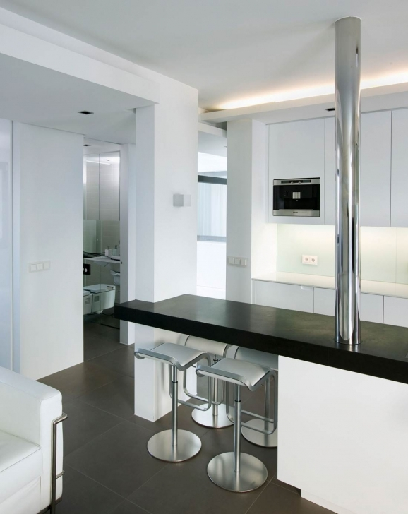 Delightful Floating Kitchen Island With Seating With Modern White Kitchen With Black Table Picture